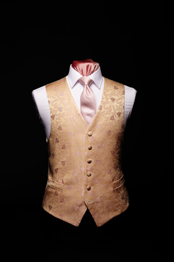 Pink silk bee waistcoat with an ivory base