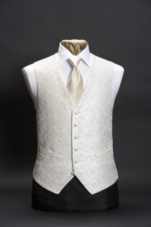 Ivory star embroidered silk single breasted waistcoat