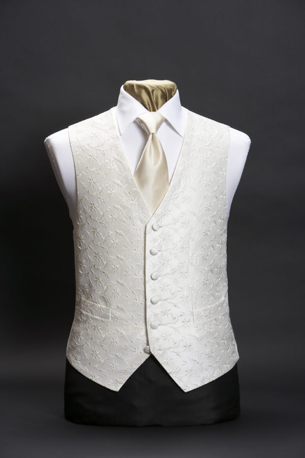 Ivory silk waistcoat with ivory star embroidery