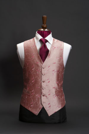 Salmon pink and fuchsia pink silk embroidered waistcoat