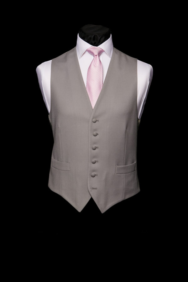 Single breasted grey wool waistcoat