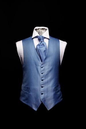 Denim blue silk basket weave waistcoat