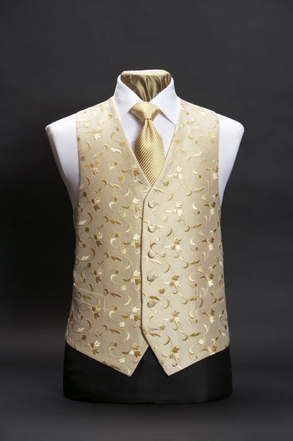 Cream silk waistcoat with gold floral swirl embroidery