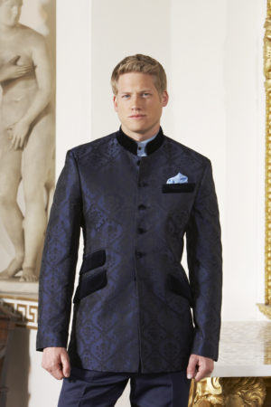 Navy blue silk damask Nehru jacket with velvet collar and pockets