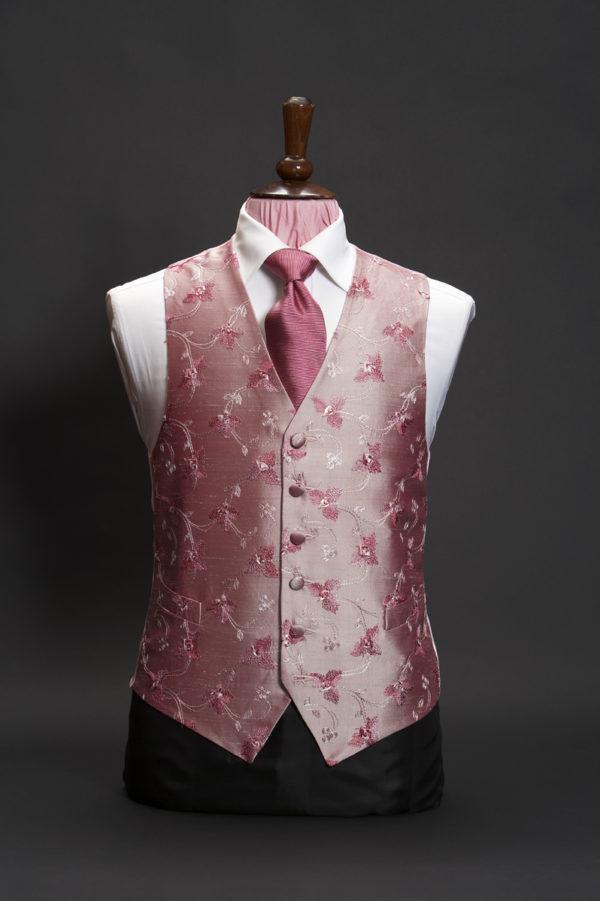 Salmon pink silk waistcoat with dark salmon pink embroidery