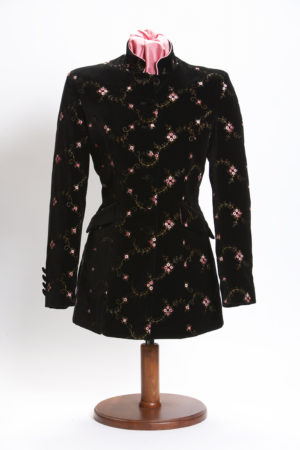 Black velvet ladies Nehru jacket with pink floral embroidery