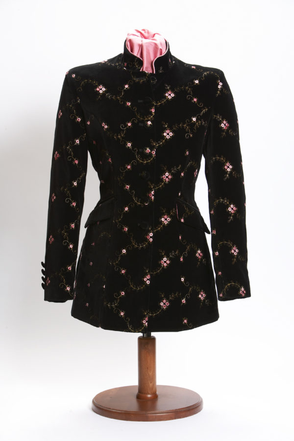 Ladies bespoke black velvet Nehru jacket with pink embroidery flowers