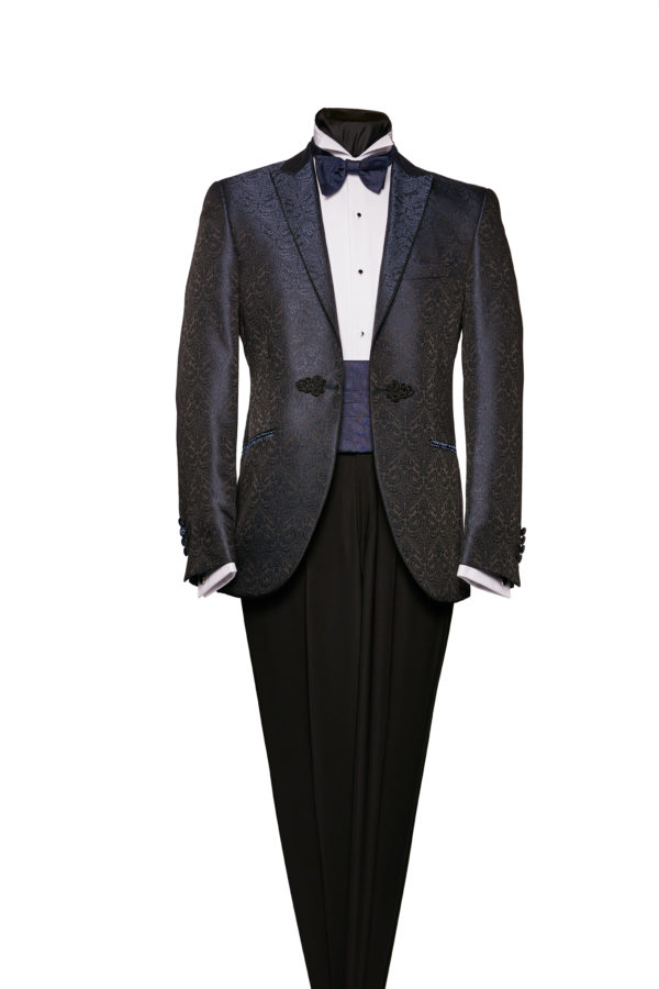 Navy blue brocade dinner jacket