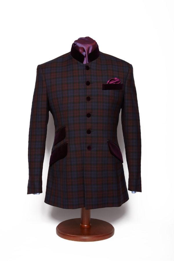 Tartan purple wool Nehru Jacket with purple velvet pockets and collar