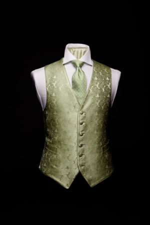 Green and ivory silk roses waistcoat and silk piping