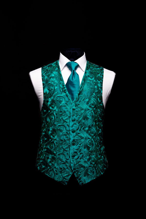 Teal green embroidered silk damask embroidered waistcoat