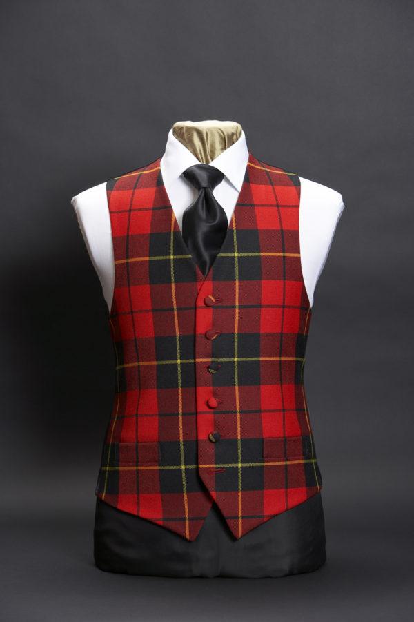 Red and black tartan wool waistcoat