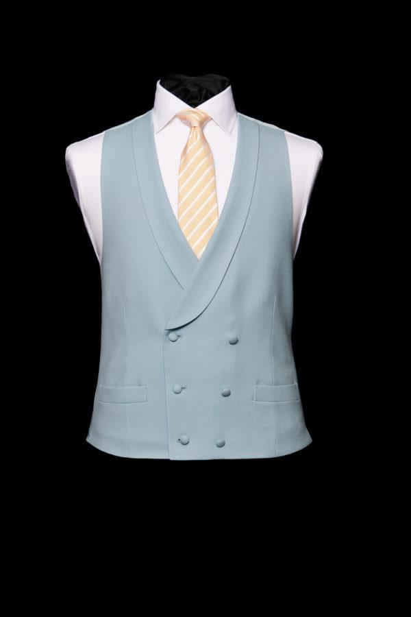 Sky blue double breasted wool waistcoat