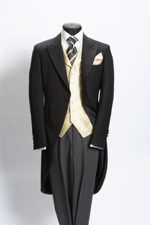 Plain black lightweight wool morning suit with grey stripe trousers