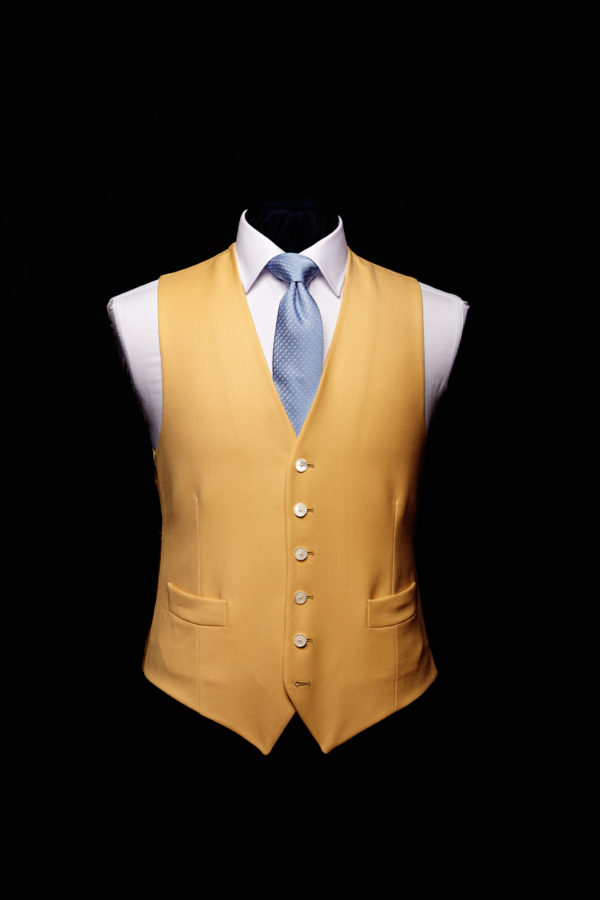 Yellow wool gaberdine single breasted waistcoat