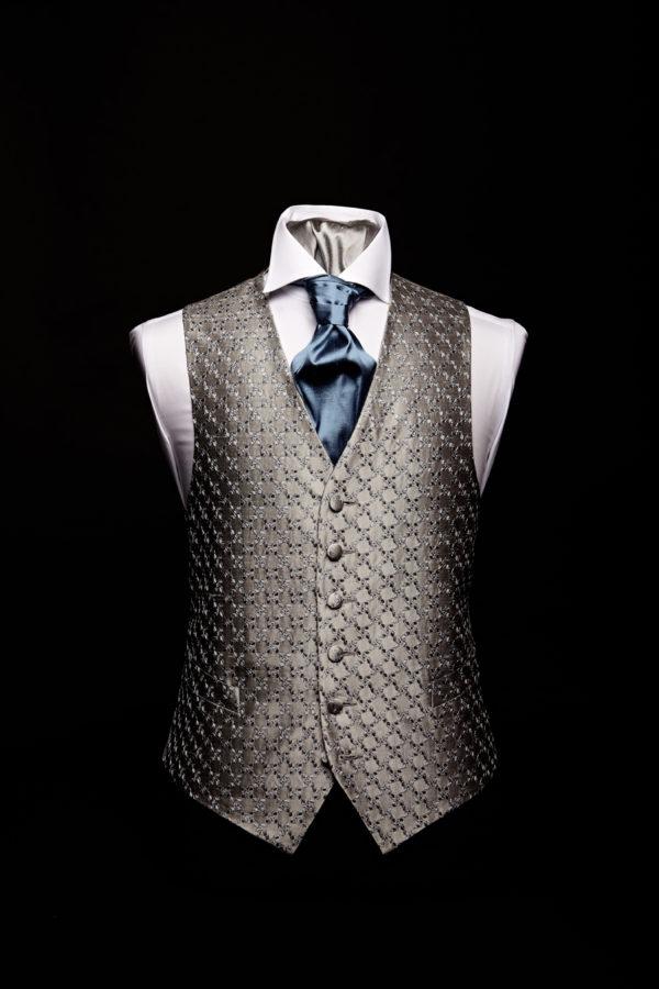 Silver silk diamond pattern embroidered waistcoat