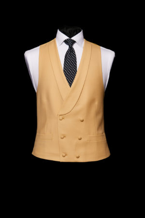 Butterscotch yellow wool double-breasted waistcoat