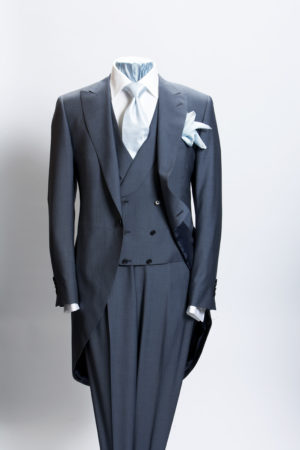 Blue mohair and wool three-piece morning suit
