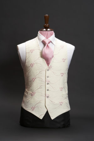 Ivory single breasted linen six button waistcoat with pink embroidery