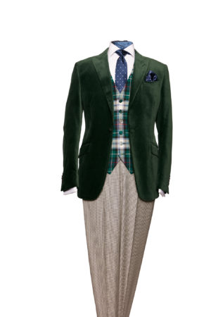 Green velvet single-breasted one-button blazer