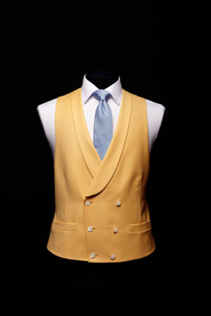 Yellow wool gaberdine double-breasted waistcoat