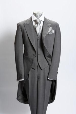 Light grey prince of wales three-piece lightweight wool morning suit