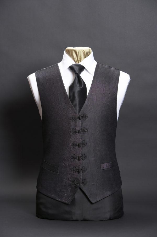 Black silk lurex waistcoat with black silk frogging