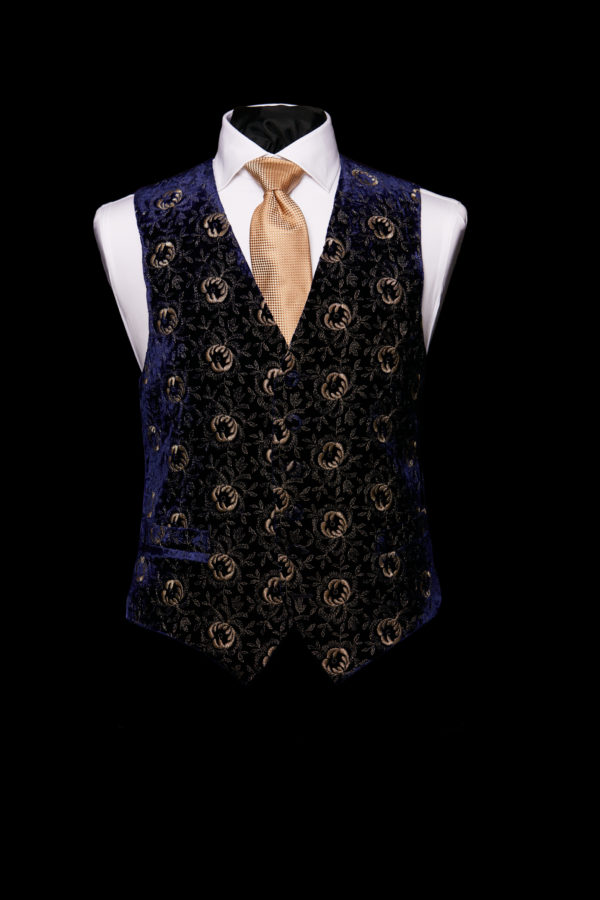 Midnight blue velvet embroidered waistcoat with gold