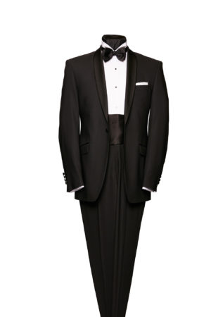 Black shawl collar wool dinner suit to hire