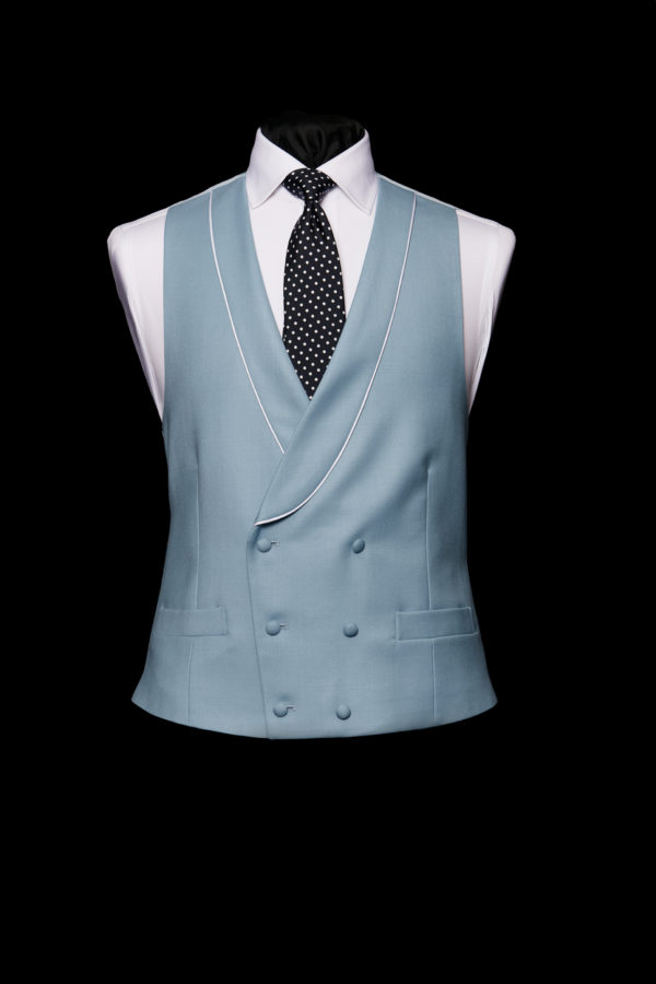Cornflower blue double breasted wool waistcoat with silk piping