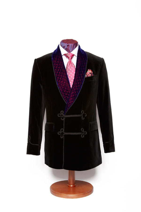 Black double breasted velvet smoking jacket with purple quilted lapel