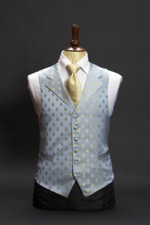 Blue and gold silk bees waistcoat with lapels