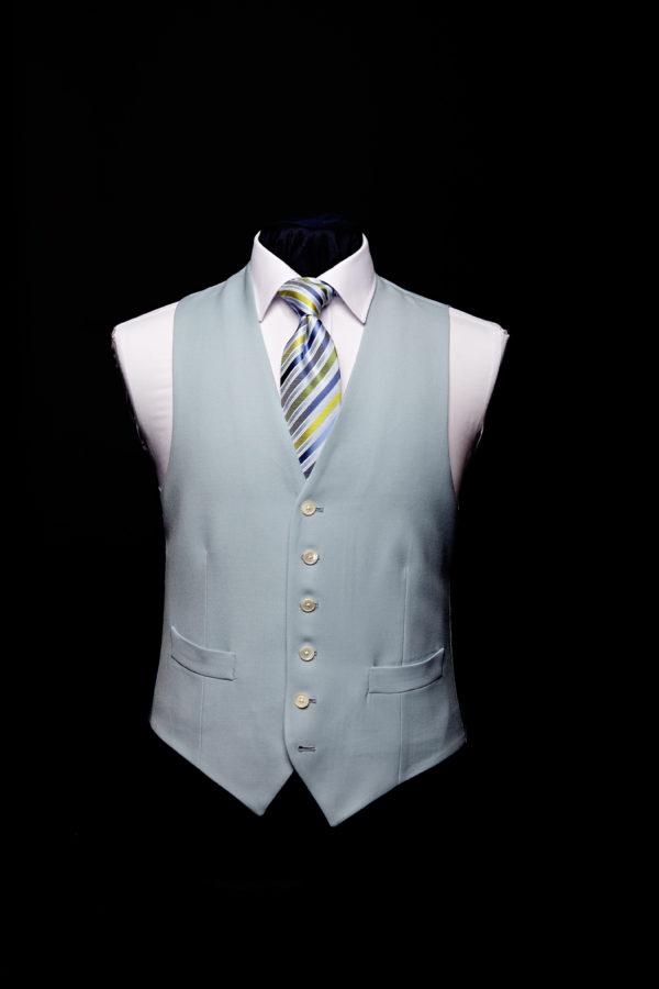Blue wool gaberdine single breasted waistcoat
