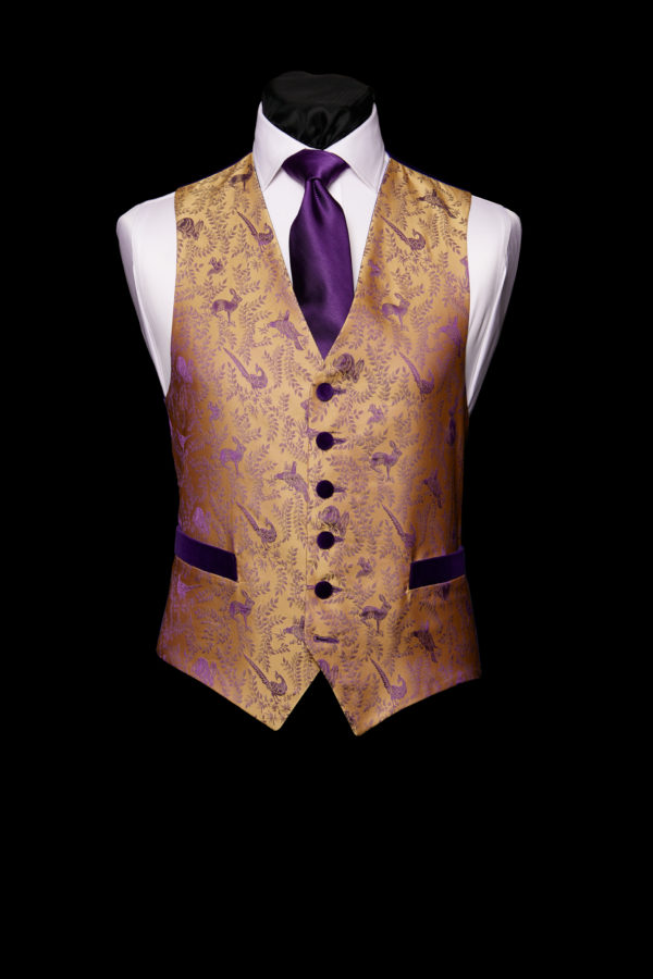 Gold silk waistcoat with purple hares and pheasants and purple velvet buttons and pockets