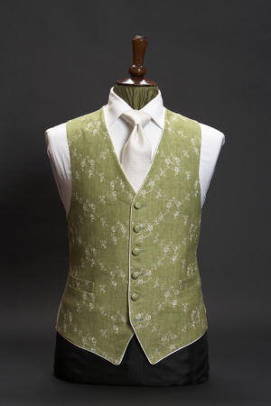 Green linen embroidered waistcoat with ivory embroidery and piping