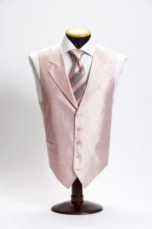 Pink silk waistcoat with lapel