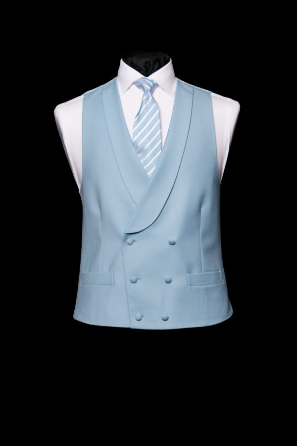Light blue wool double breasted waistcoat