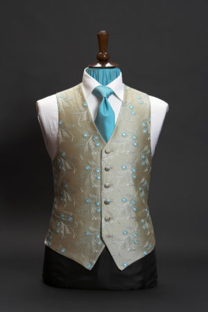 Grey silk waistcoat with turquoise blue embroidery