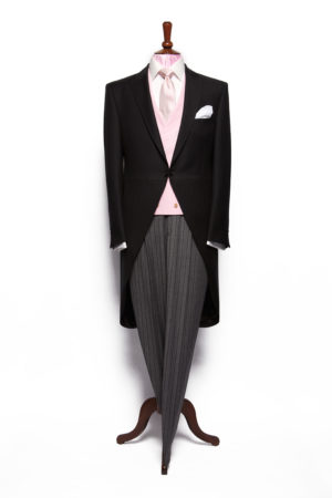 Black herringbone lightweight superfine wool morning suit