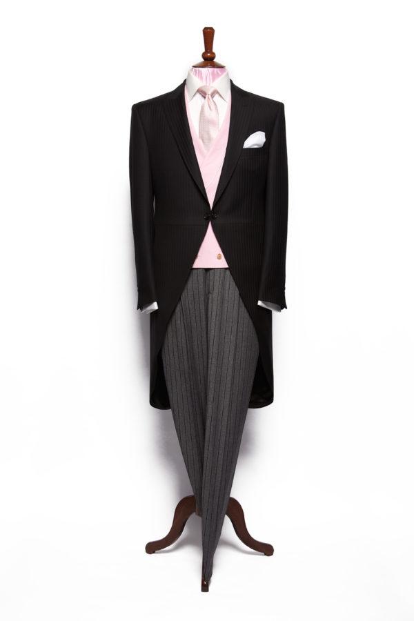 Black herringbone light weight wool morning coat with grey stripe wool trousers