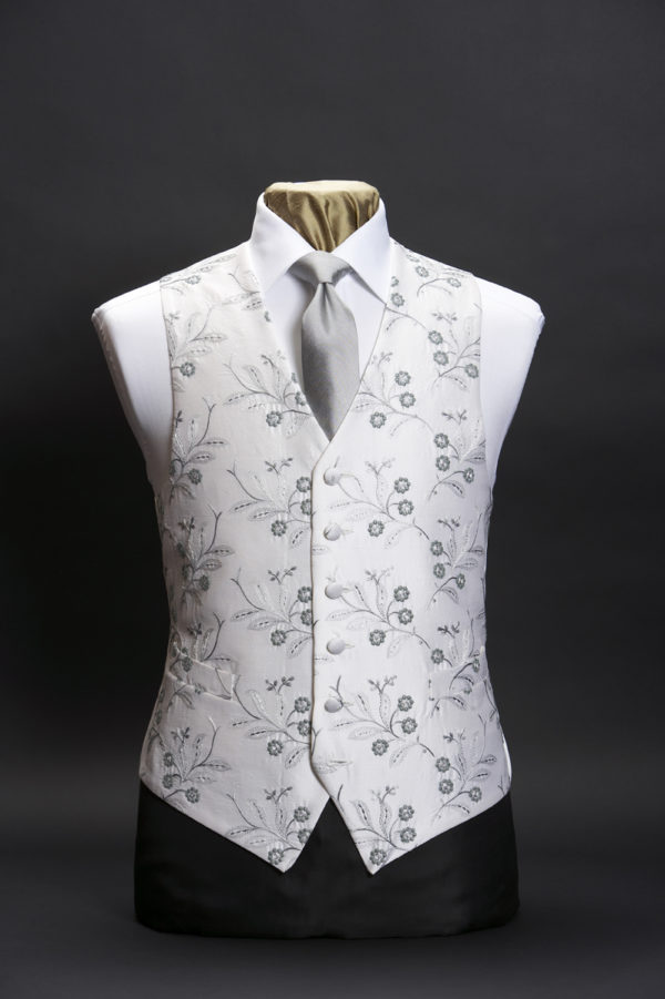 Ivory silk waistcoat with silver grey embroidery