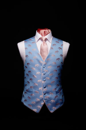 Pink and blue silk elephant waistcoat with pink piping