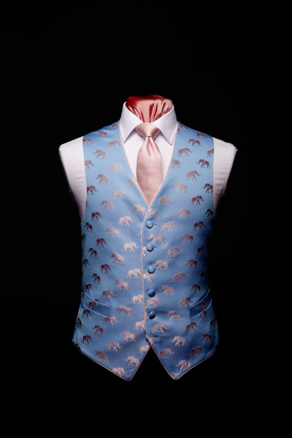 Pink and blue silk elephant waistcoat with pink silk piping