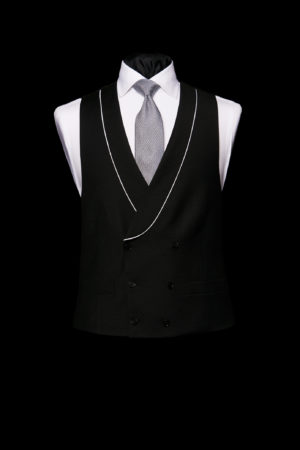 Black double-breasted wool waistcoat with piping
