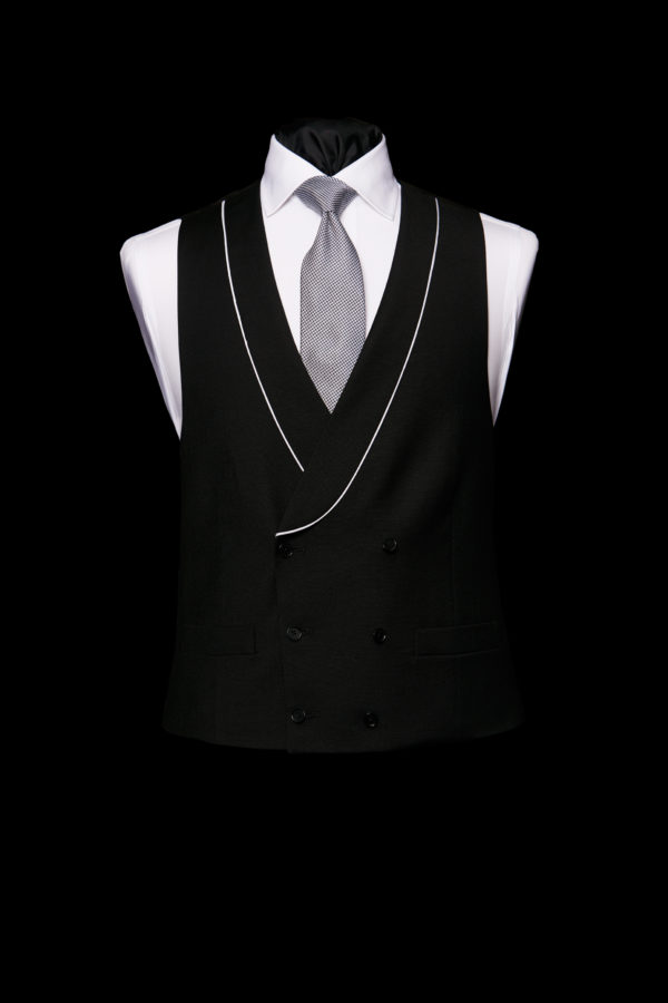 Black wool waistcoat with white piping