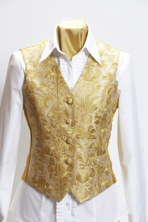 Ladies gold silk embroidered damask waistcoat