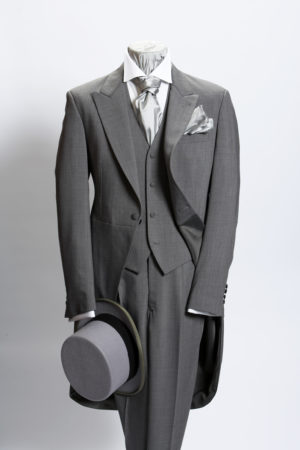 Light grey prince of wales three-piece lightweight wool morning suit including a waistcoat