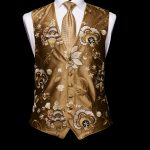 Gold silk waistcoat with embroidery and gold silk piping limited edition