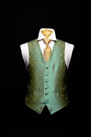 Green and gold silk fleur de lis waistcoat