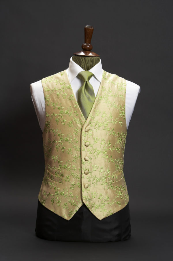 Cream silk waistcoat with bright green embroidery